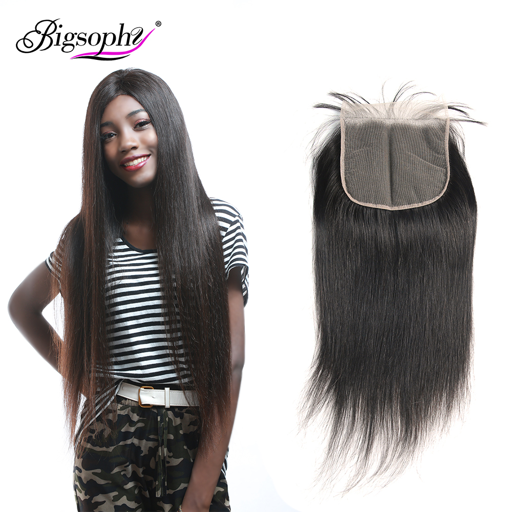 Bigsophy Brazilian Hair 6x6 Lace Closure Straight Human Remy Hair Lace With Baby Hair Closure 8 24 Inch Swiss Lace Natural Color in Closures from Hair Extensions Wigs