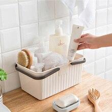 Plastic Rectangular Storage Basket With Handle Rattan Bucket for Desktop Bathroom Kitchen Home Organizer