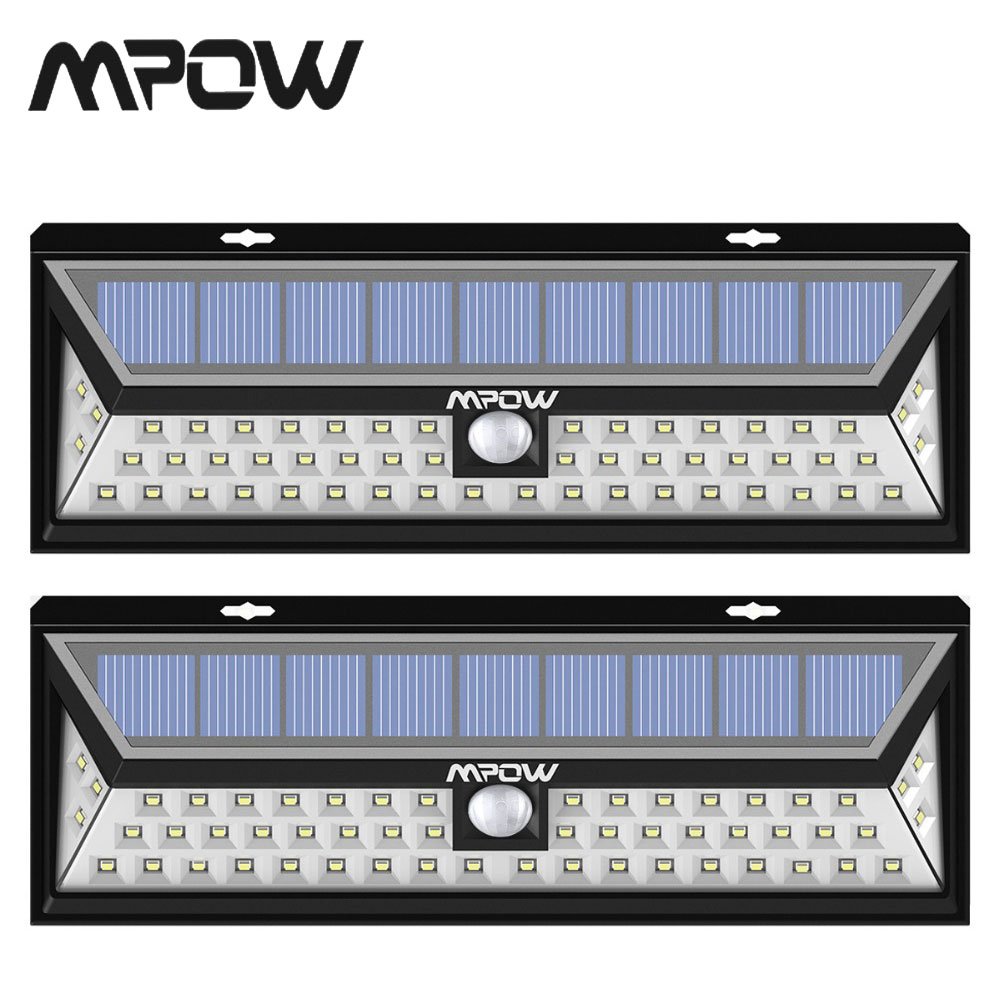 2 Pack/lot MPOW 54 LED Solar Garden Wall Light Outdoor Waterproof 120 Wide Angle Motion Sensor Light Luz Solar Led Para Exterior