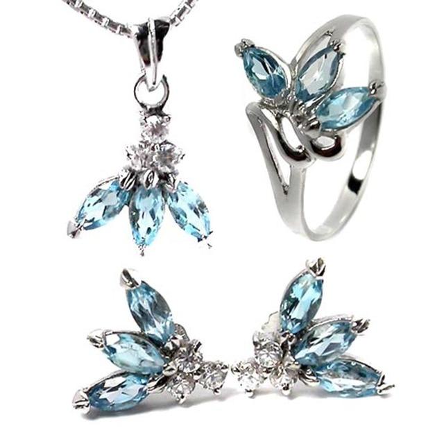 f0a9a881cdd9 Moda elegante collar de piedras preciosas naturales pendientes anillo de  sistemas de la joyería 925 de