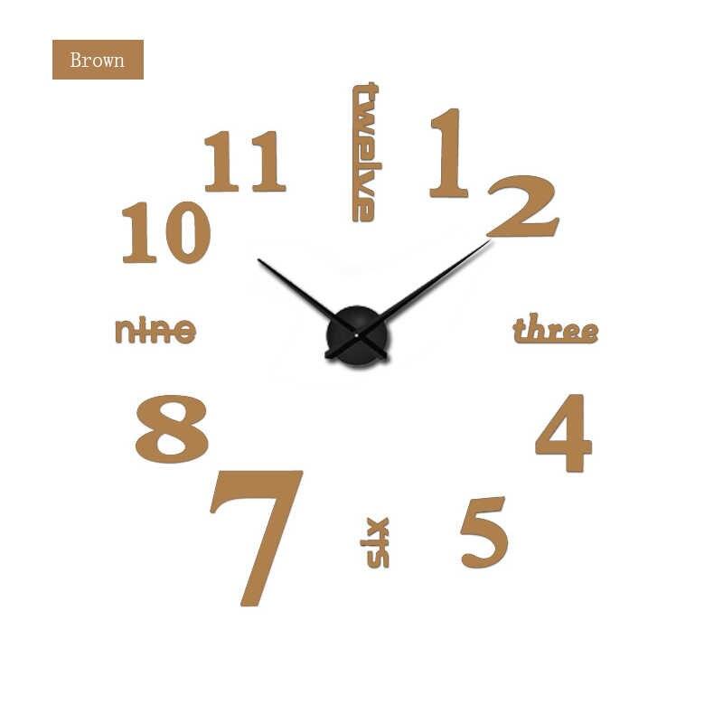 2020 סלון בית לקשט DIY קיר שעון אקריליק מתכת מראה קיר שעון סופר מדבקת דיגיטלי שעונים שעונים Freeshipping