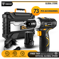 DEKO GCD12DU3 12V Max Household Power Tool Electric Screwdriver with LED Light Lithium Battery Cordless Drill for Woodworking