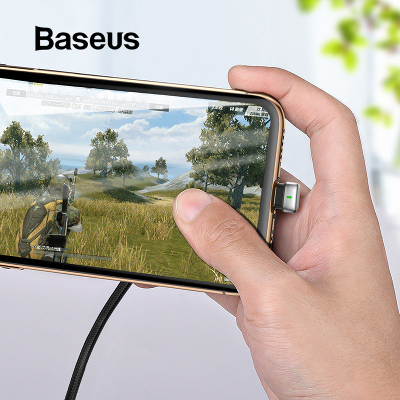 Baseus U-Type USB Cable for iPhone X xr xs max Charging Cable Led Light Mobile Phone Play Game Cable for iPhone 8 7 6 6s PlusBaseus U-Type USB Cable for iPhone X xr xs max Charging Cable Led Light Mobile Phone Play Game Cable for iPhone 8 7 6 6s Plus