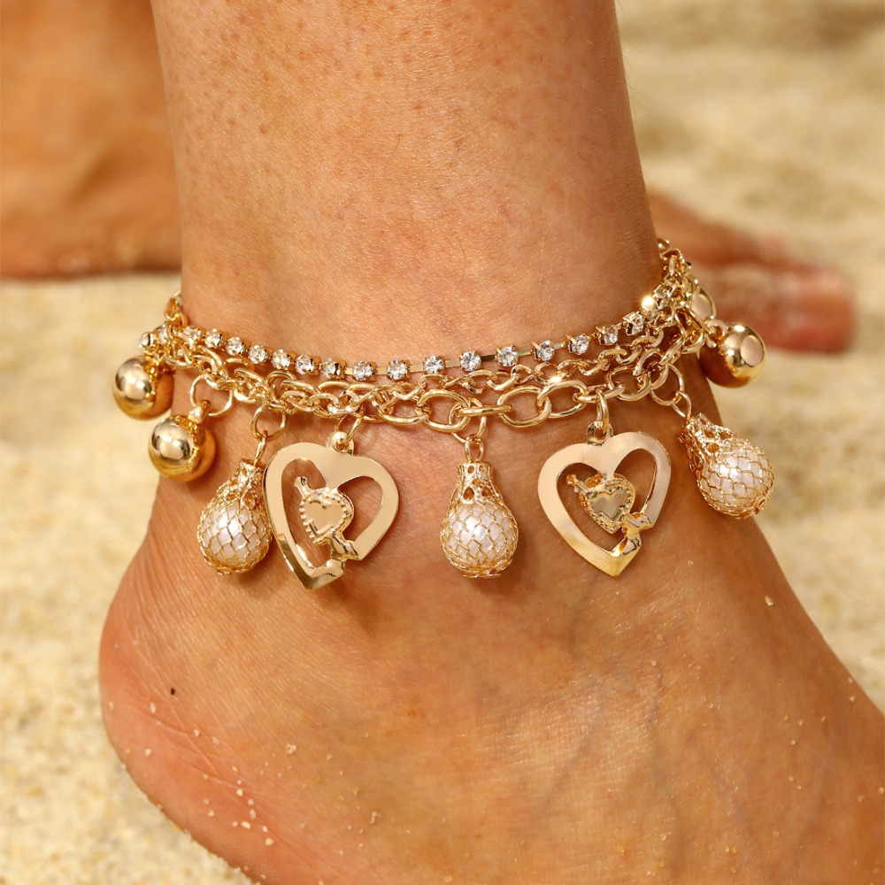 MINHIN Women Bracelet Fashion Gold Chain Anklets Wedding Jewelry Simulated Pearl DIY Handmade Ankle Bracelets Femme