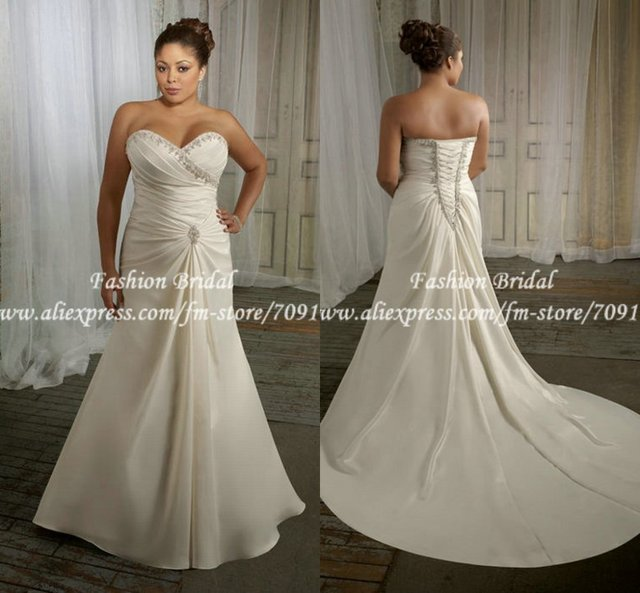 Us 197 89 Twd182 Sweetheart Pleated Applique A Line Long Bridal Plus Size Wedding Gown In Wedding Dresses From Weddings Events On Aliexpress Com