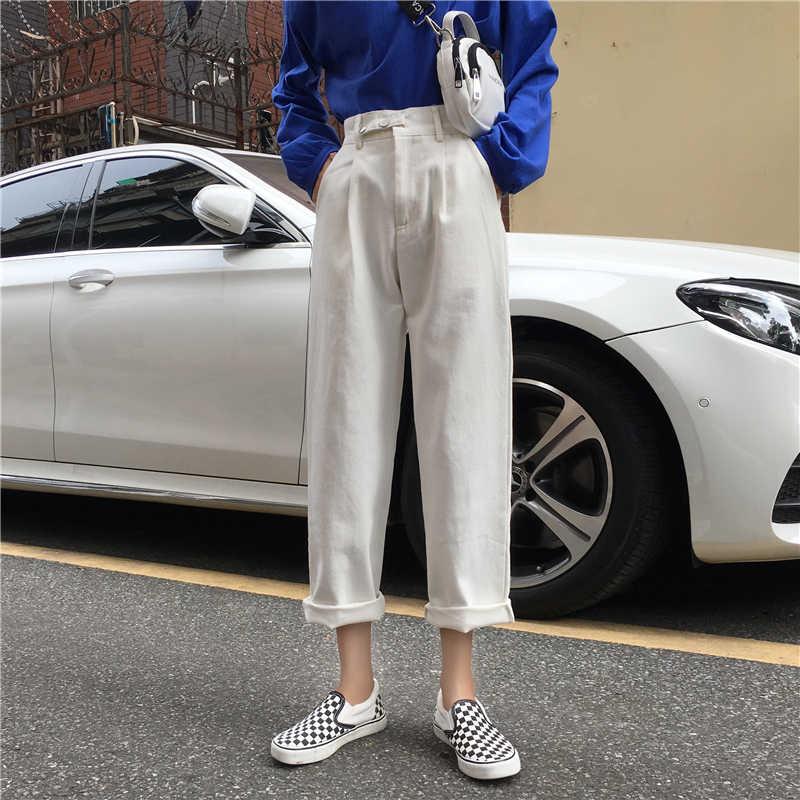 4 цвета Mihoshop Ulzzang Корейская женская модная одежда с высокой талией белые свободные джинсы