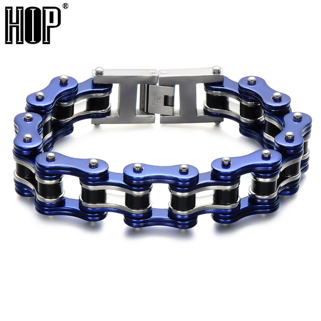 Hip 22cm Double Mens Biker Bicycle Motorcycle Chain Bracelets Bangles Blue 316l Stainless Steel Bracelet