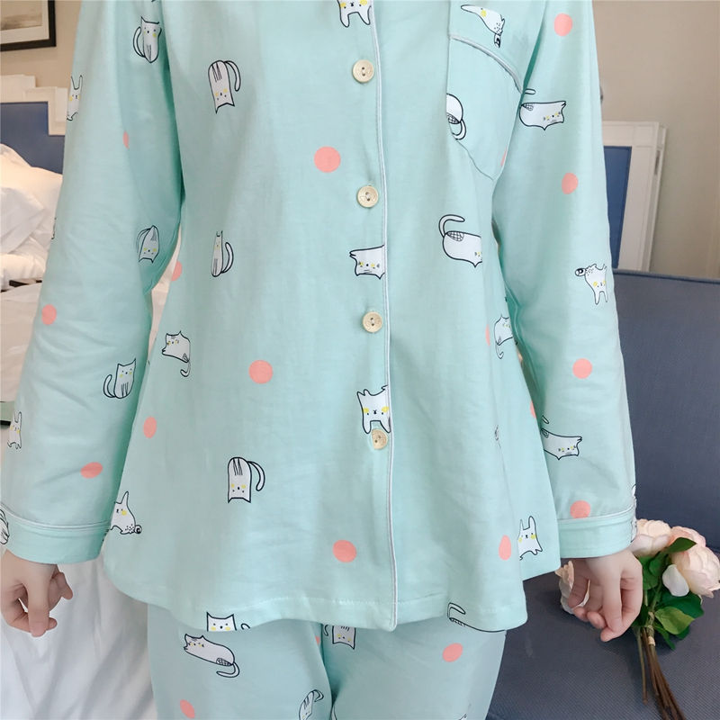 73c98d217634 Pajamas Sets 100% Cotton for Women Pregnant 2018 Long Sleeve Loungewear Cartoon  Soft Sleepwear Female Home and Hospital Clothes -in Pajama Sets from ...