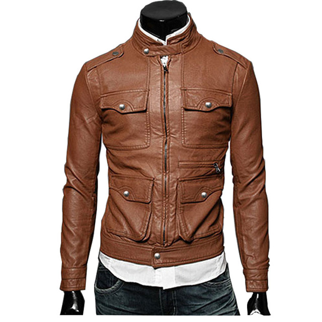 2015 New Leather Jacket Men Fashion Quality Brand Slim Sexy Cool Black Mens Leather Jackets and Coats Jaqueta de Couro Masculina