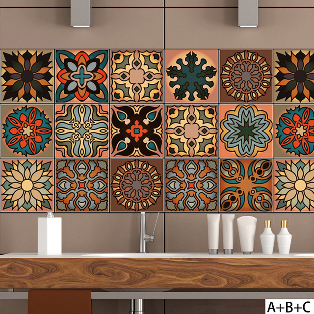 New Arrival Moroccan Style Ceramic Tile Sticker Creative Wall Home Kitchen Color Pattern Decoration