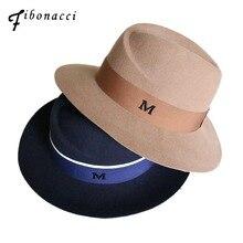 Fibonacci คุณภาพสูงฤดูใบไม้ร่วงฤดูหนาว Fedora สุภาพสตรีหมวกสำหรับหมวกผู้หญิง M ผ้าขนสัตว์ 100% Felt หมวกอุปกรณ์เสริมหมวก