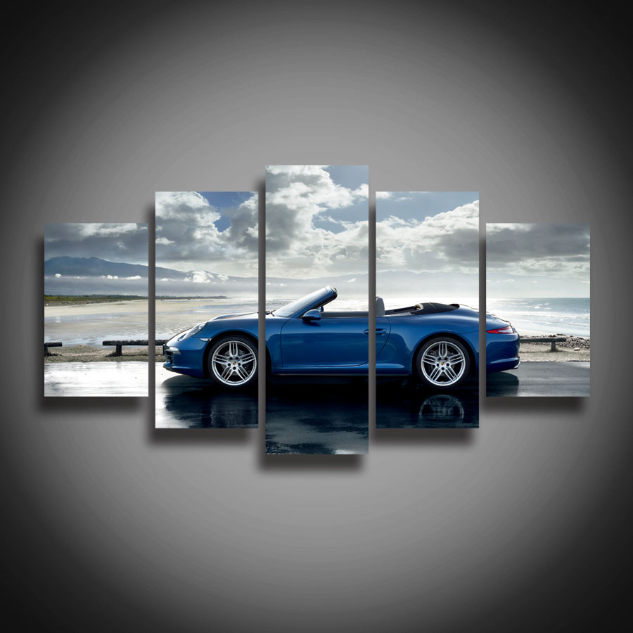 framed printed blue sports car posters canvas painting landscape for wall home decoration novelty canvas art