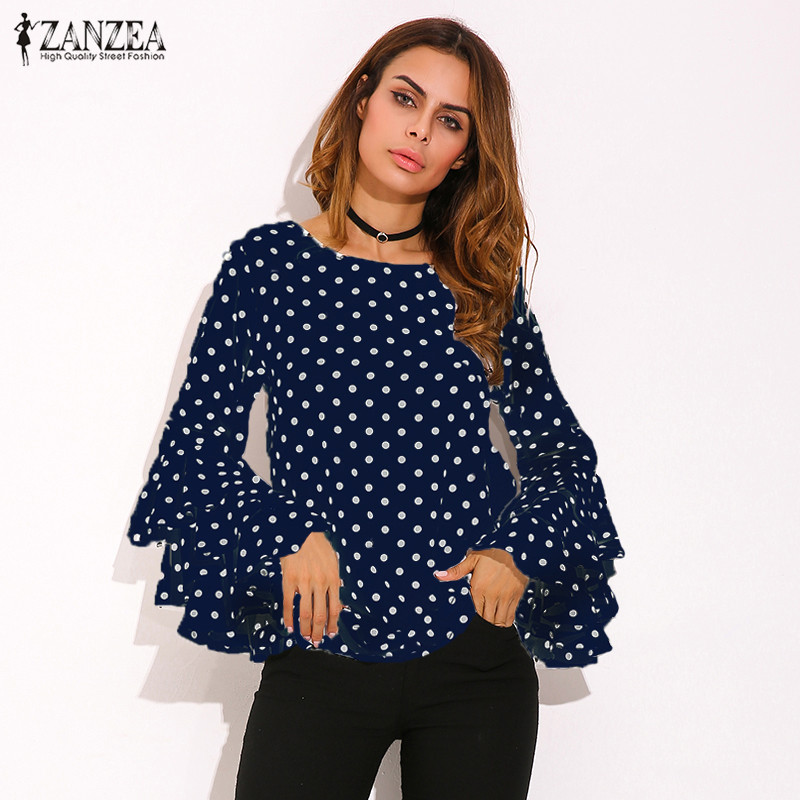 HTB1MPvvSpXXXXbMaXXXq6xXFXXXy - Womens Spring Flounce Long Sleeves Blouse Office