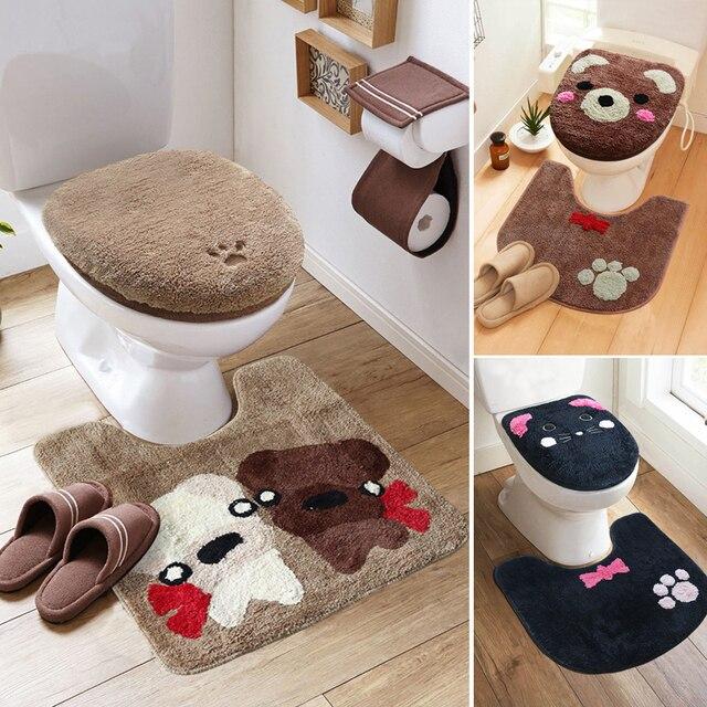 3 pçs/set Inverno Engrosse Warmer Lavável Conjunto Higiênico Tampa de Assento Do Toalete & Banheiro Tapete Higiênico Tapete de Banho Dos Desenhos Animados Conjuntos de Almofada Do Assento