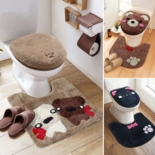 3Pcs/set Winter Thicken Warmer Washable Toilet Set Bath Mat Cartoon Toilet Seat Cover & Rug Bathroom Toilet Seat Cushion Sets