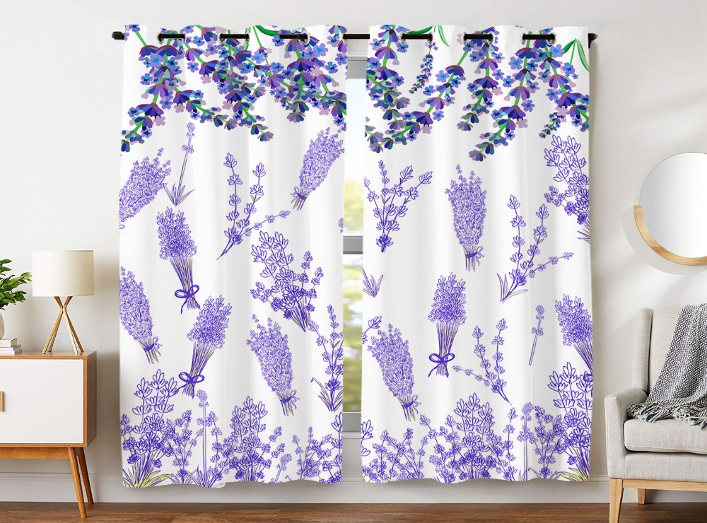 HommomH Curtains 2 Panel Grommet Top Darkening Blackout Room Lavender Purple Flowers