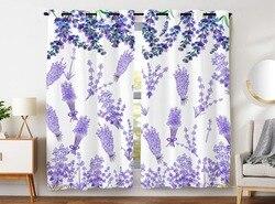 HommomH zasłony (2 Panel) przelotka Top zaciemnienie Blackout Room lawenda fioletowe kwiaty