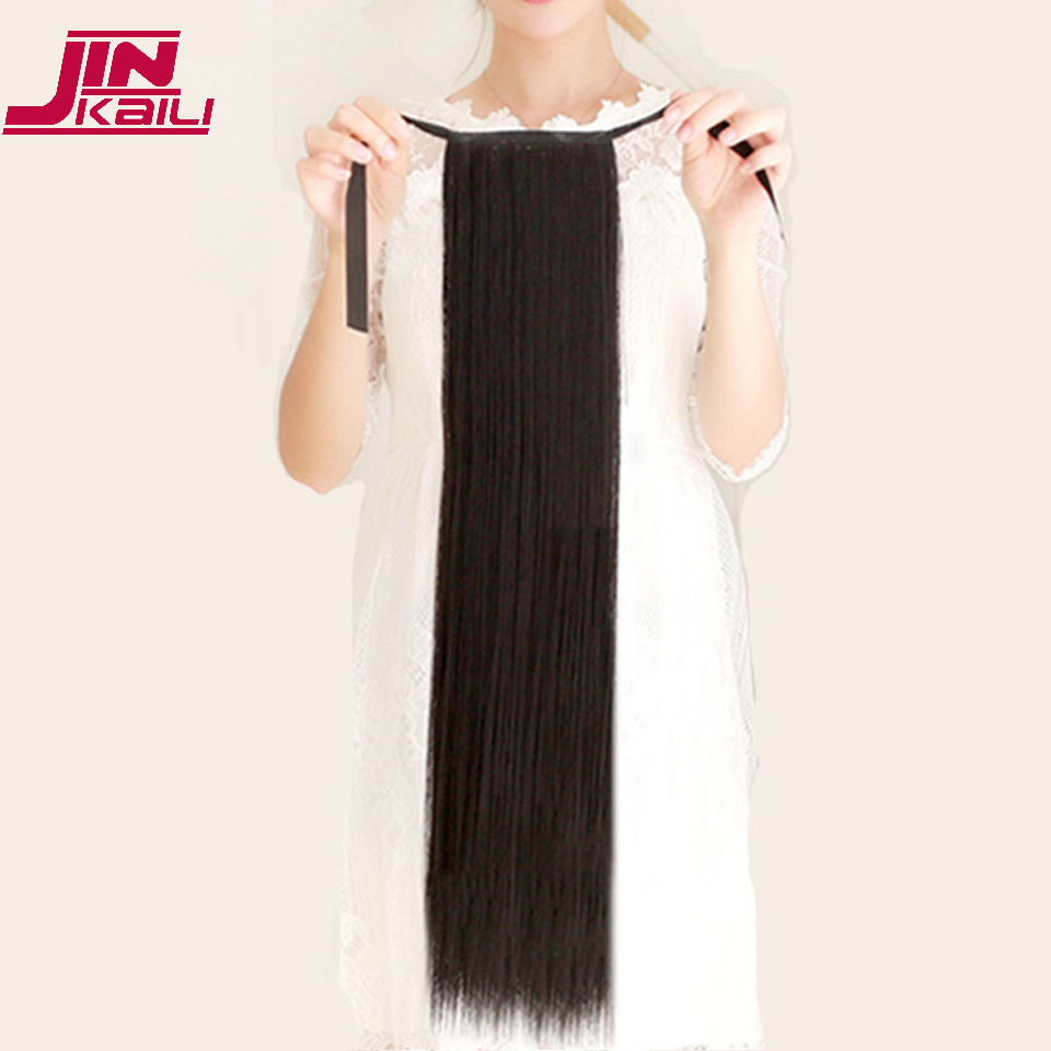 "JINKAILI  85cm 32"" Super Long Straight Clip In Tail False Hair Ponytail Hairpiece With Hairpins Synthetic Pony Tail Extensions 2"