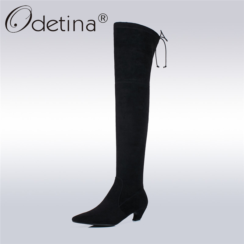 Odetina 2017 New Genuine Leather Womens Suede Over The Knee Boots Sexy Elastic Thigh High Boots Mid Heel Female Winter Shoes 43 avvvxbw 2016 new brand long boots fashion elastic over the knee boots shoes woman square heel genuine leather thigh high boots