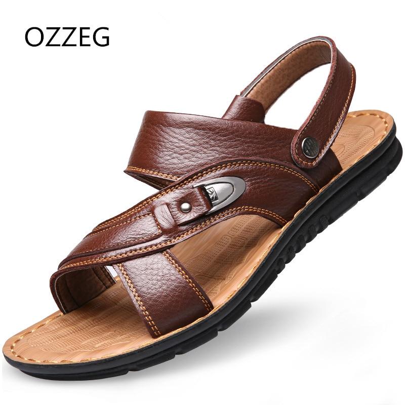 Summer Man Shoes 2018 Fashion Beach Sandals Dual-purpose Men Casual Shoes Genuine Leather Sandal Size37-47
