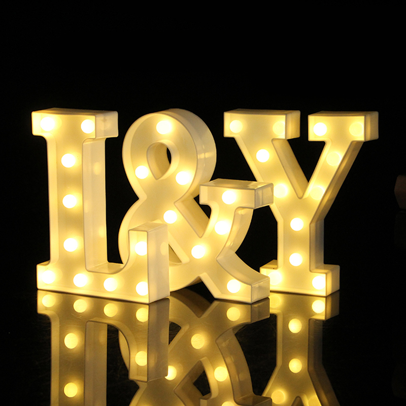 26 Letters White LED Night Light Marquee Sign Alphabet Table Lamp For Indoor Birthday Wedding Party Bedroom Wall Hanging Decor ropio love letters shape led night lights table lamp wall hanging neon light for festival wedding party decoration lighting