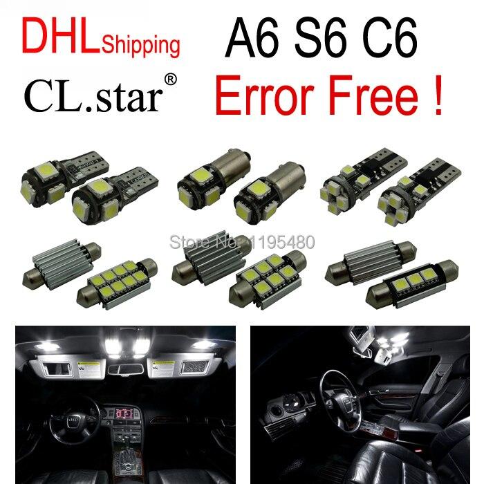 DHL shipping 17pc X canbus Error Free for Audi A6 S6 RS6 C6 Quattro Sedan LED Interior Light Kit Package (2005-2011) 11pc x canbus error free led interior light kit package for audi a6 s6 rs6 c6 quattro sedan 2005 2011 accessories lighting bulbs
