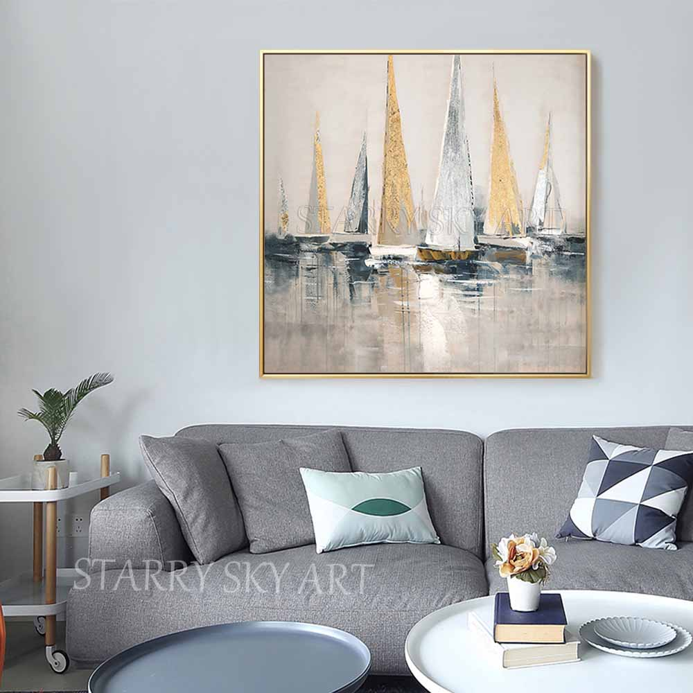 Image 5 - Skilled Artist Hand painted High Quality Golden Foil Abstract  Boats Oil Painting Wall Fine Art Abstract Landscape Boats  PaintingPainting