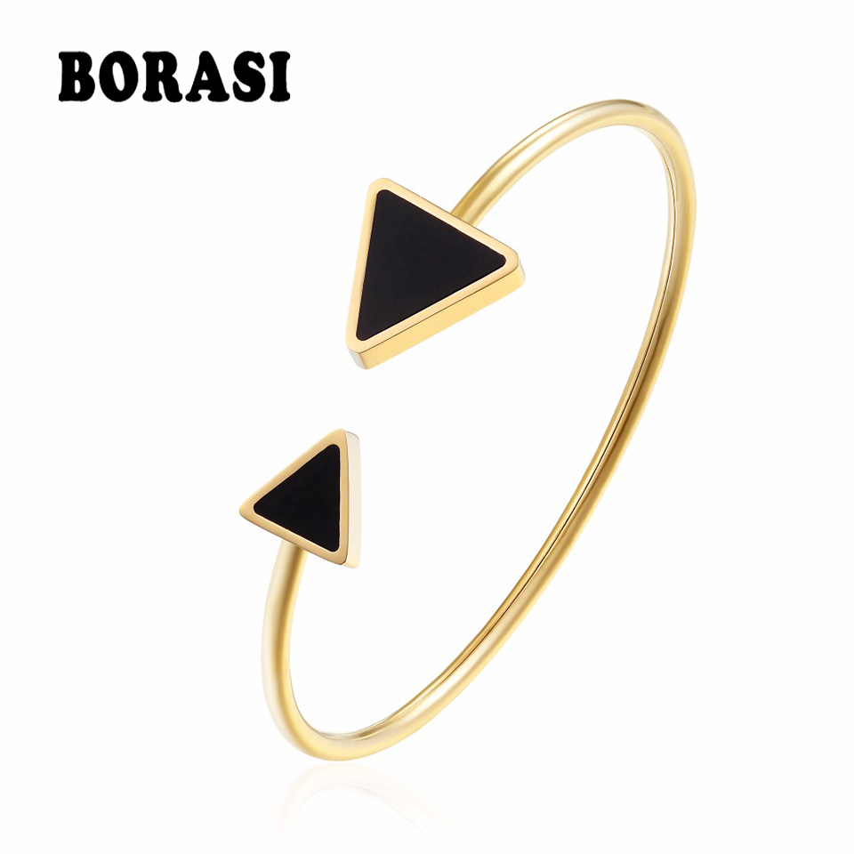 BORASI Bracelets & Bangles For Women Geometric Triangle Stainless Steel Charms Bracelet Gold Color Bangles Jewelry Party Gift