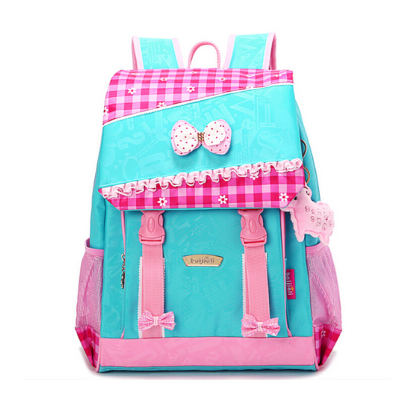 high quality cute school backpack for girls student blue pink plaid bag children school bags kids