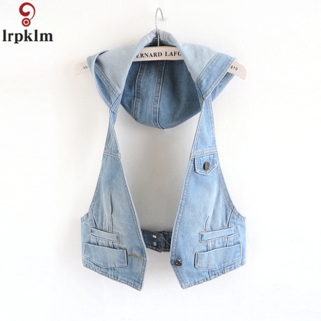 Women's Sleeveless Jacket Waistcoat Denim Female 2018 Spring-Autumn New Fashion Trend Slim Thin Section Denim Vest Women CH142