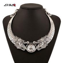 Lzhlq boêmio étnico colar instrução feminino 2020 cigano quente do vintage duplo dragões gargantilha colar tribo jóias collier