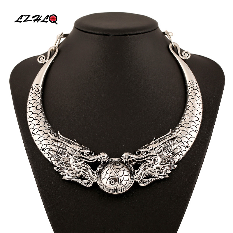 LZHLQ Bohemian Ethnic Necklace Statement Women 2017 Hot Gypsy Vintage Double Dragons Choker Collar Tribe Jewelry Collier