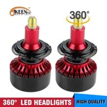 OKEEN 2pcs Car 3D Mini Canbus H7 LED Headlight Bulbs H1 H3 H8 9005 9006 Auto Lamp 360 degree Headlamp 6000K White Fog Light