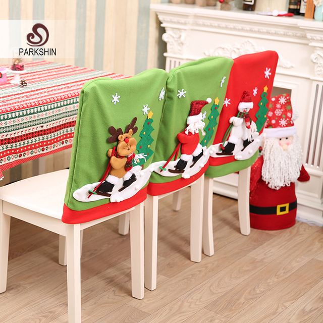 Christmas Dining Room Chair Covers Cover Qld Parkshin Santa Claus Deer Snowman Doll Lovely Home