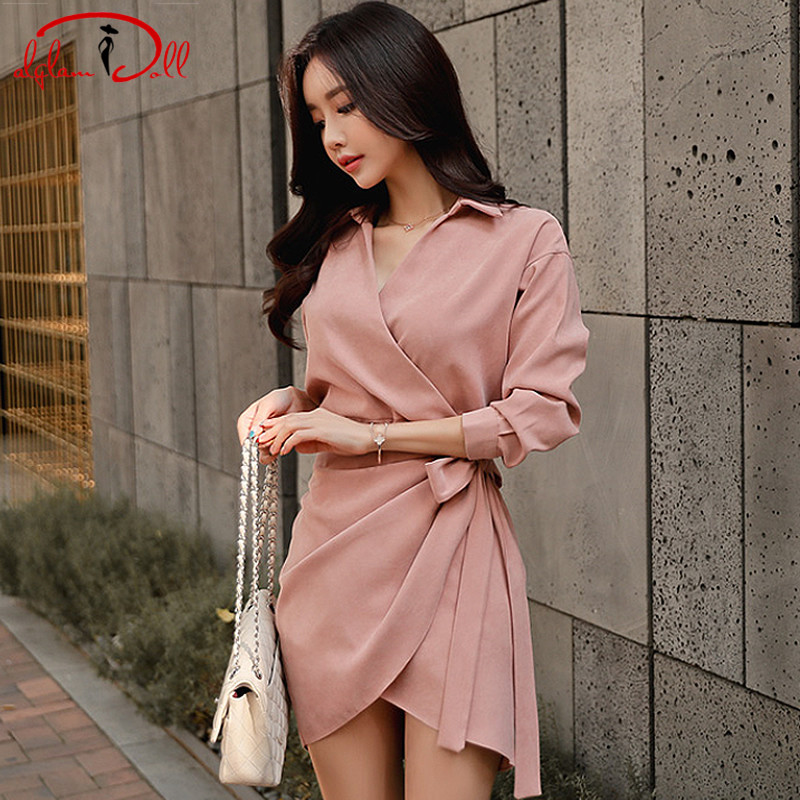 2019 New V-Neck Sashes Casual Full Sleeve Shirt Dress Pink Office Work Mini Vestidos