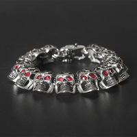 Fashion bully red eye bracelet Ghost Head Titanium Steel jewelry retro gothic wind with red jewelry