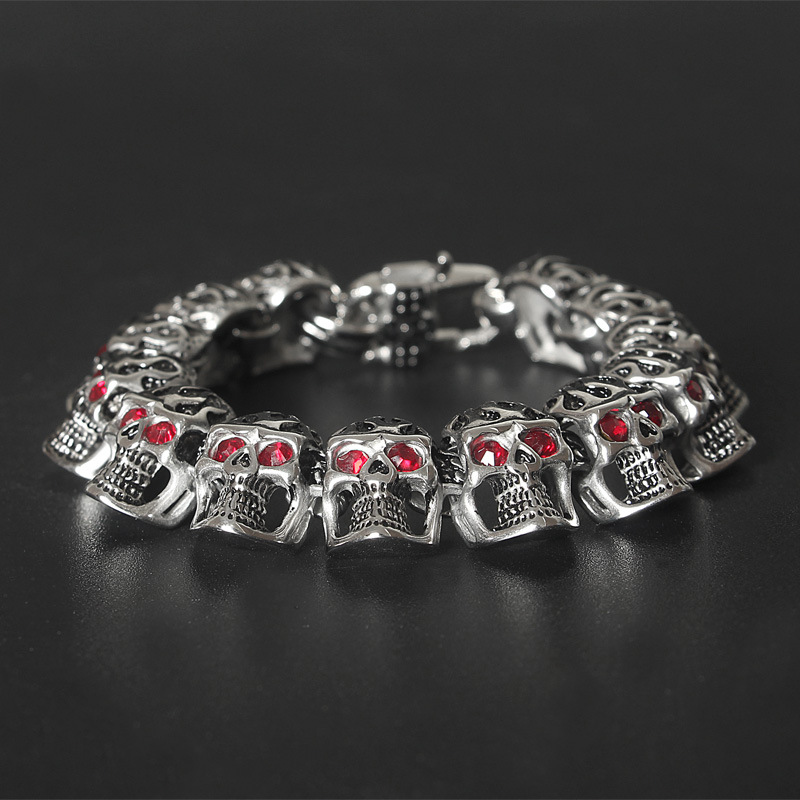 Fashion bully red eye bracelet Ghost Head Titanium Steel jewelry retro gothic wind with