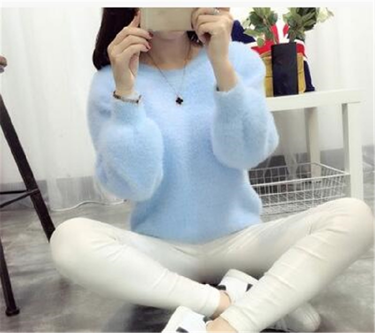 19 Sweater Women Fashion Casual Simple Lantern Sleeve Solid Color Loose Comfort Cashmere Knitting Mohair Fur Pullover USWMIE 3