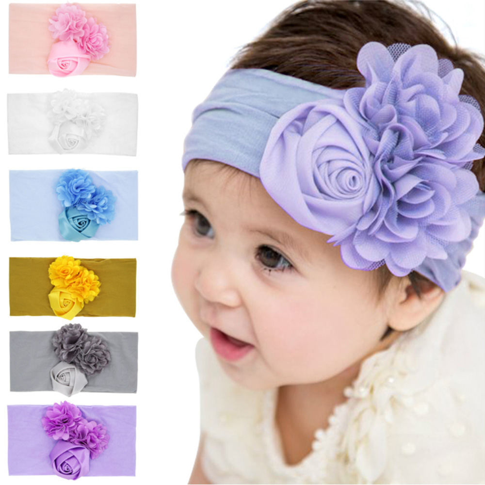 Baby Headband Lace Mix 3 Flower Girls Nylon Hair Bands Handmade   Headwear   Newborn Hair Bow Headdress Children Hair Accessories