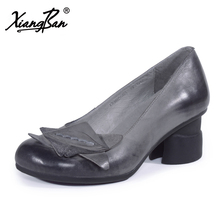 Xiangban 2018 spring women heels casual pointed toe retro handmade ladies shoes genuine leather thick with