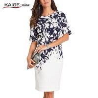 Kaige Nina New Women S Fashion Chinese Style Print O Neck Knee Autumn Straight Dress With