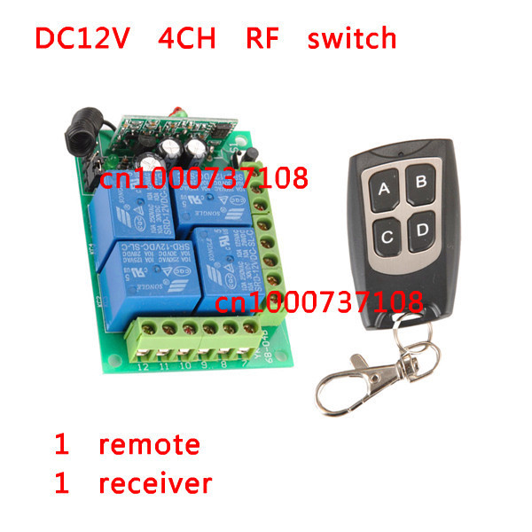 NEW DC12V 4 CH RF Wireless Remote Control System / Radio Switch Transmitter/Receiver Momentary Toggle Latched For Light Lamp new dc12v 4 relay ch momentary toggle latched rf remote control switch system wireless receiver