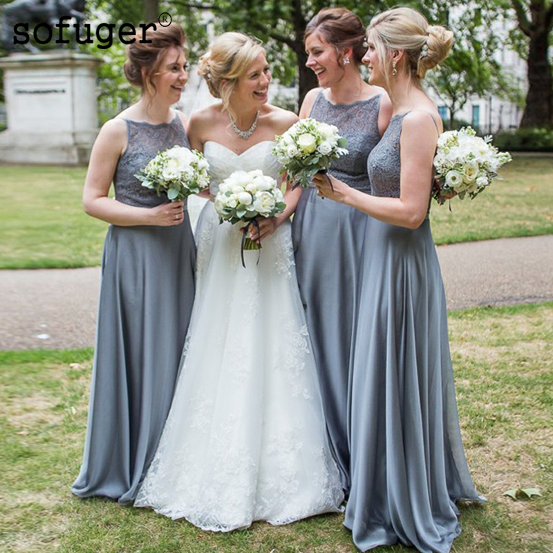 Elegant Grey Satin Scoop Lace Top Special Occasion Dress Bridesmaid Dresses Sleeveless Wedding Party Dresses Formal