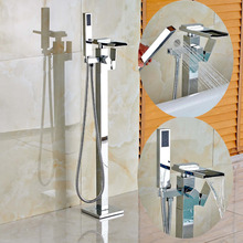Free Standing Waterfall Bathtub Faucet Chrome Mixer Tap W/ Hand Shower Sprayer