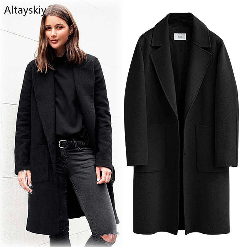 Wool Women Large Size Long Solid Simple All-match European Style Pockets Soft Daily Blends Womens Single Breasted Straight Coats