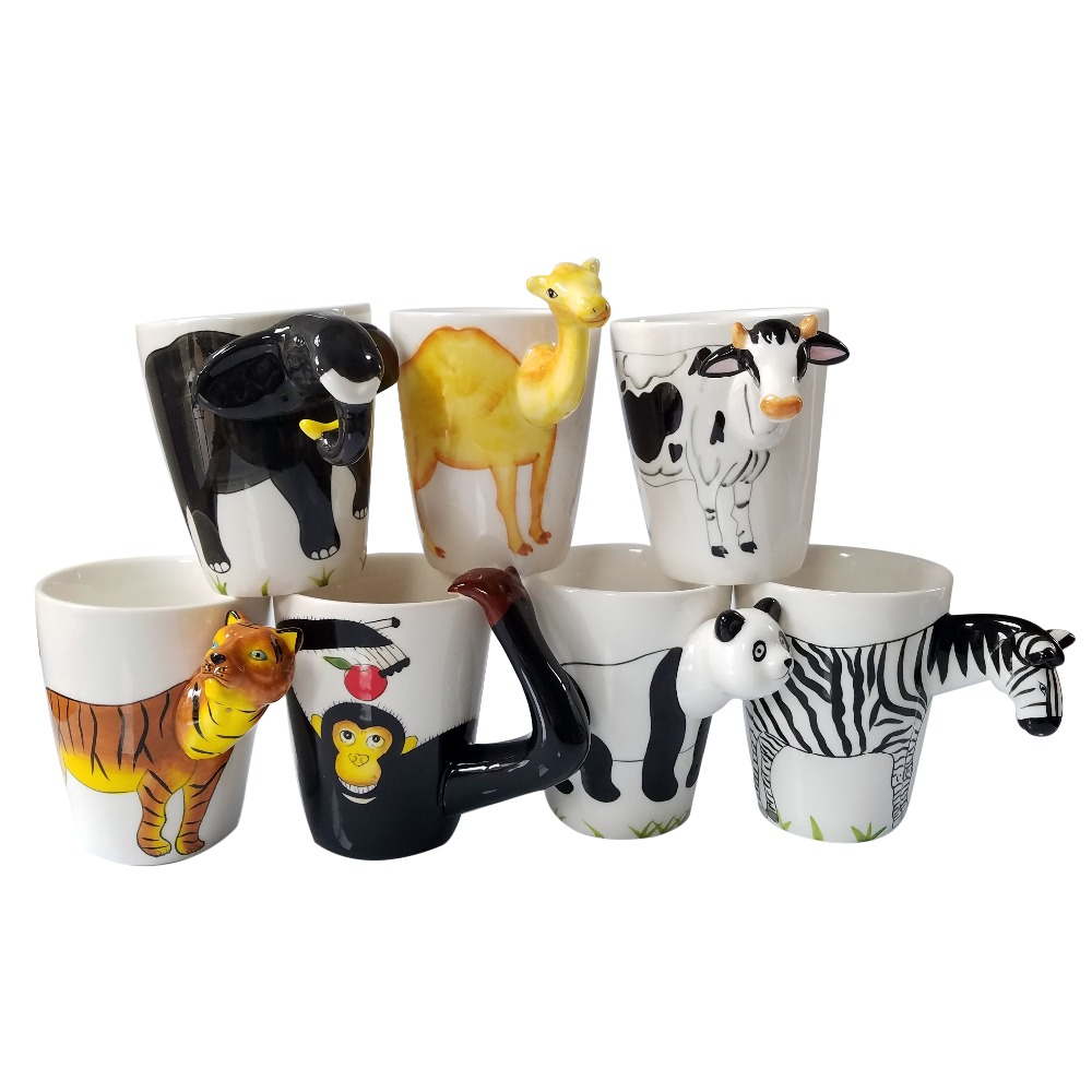Us 20 11 10 Off Decorative 3d Animal Handle Mug 12oz Ceramic Coffee Cup Cool Unique Design Animal Mug For Kids Gorilla Elephant Zebra Cow Camel In