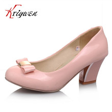 Low price wholesale Big size32-43 new fashion women pumps bowtie med heels shoes for woman round toe wedding shoes drop shipping