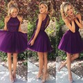 Fashionable Purple Short Prom Dresses Beaded Sleeveless Mini Back Cocktail Party Gowns Tulle A-line Homecoming Dresses