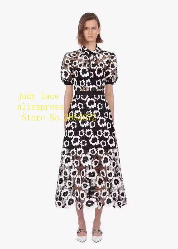 5 yards/sac tissu creux brodé soluble dans l'eau de fleurs blanches avec fond noir est utilisé pour la robe et la robe de mariée