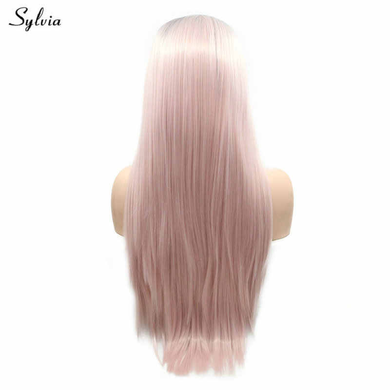 Sylvia Long Hair Soft Synthetic Lace Front Wigs Pastel Pink Color Natural Hairline Party Short Roots For Women High Temperature